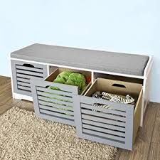 Cushioned Storage Bench Haotian Fsr23 Hg Storage Bench With 3 Drawers