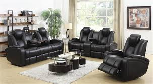 Power Reclining Sofa Set 2 Power Recline Sofa Set In Black Leather Upholstery By
