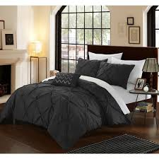 Black Duvet Cover Set Chic Home Whitley Black Pinch Pleated 4 Piece Duvet Cover Set
