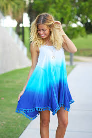 ombre dress blue ombre dress with tassels ombre fit dress