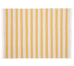 Yellow Striped Rug Kilner Stripe Recycled Yarn Indoor Outdoor Rug Yellow Pottery Barn