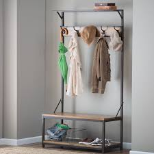 Entryway Bench And Storage Shelf With Hooks Furniture Minimalist Wrought Iron Bench With Varnished Wooden
