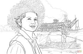 tom sawyer and huckleberry finn on a raft coloring page free