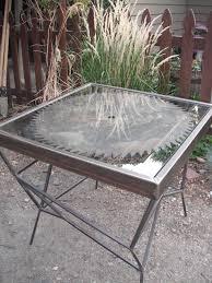 Vintage Redwood Patio Furniture - antique saw blade table 200 wheat ridge http furnishly com