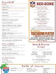daily menu the beach house