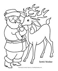 santa u0027s reindeer coloring pages santa u0027s with one of his reindeer