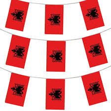 Plastic Flags 33ft 10 Meters Albanian Flag Bunting Albania Party Euro Decoration