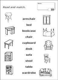 furniture vocabulary for kids learning english printable resources