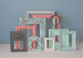 shabby chic frame set pastels mixed with cream and gray painted