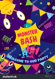 Discover Card Invitation Monster Bash Party Card Invitation Poster Stock Vector 709876219