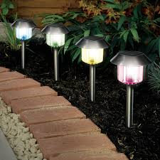solar powered outdoor l post lights solalite colour changing stainless steel solar powered garden lights