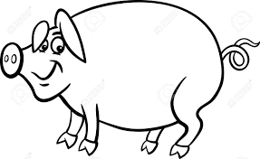 farm animal coloring book black and white cartoon illustration of funny pig farm animal