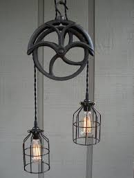 industrial pulley pendant light reserved for lisa upcycled vintage well pulley pendant light with