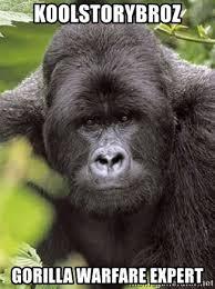 Gorilla Warfare Meme - koolstorybroz gorilla warfare expert grad student gorilla meme
