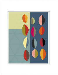 Midcentury Modern Colors Modern Pods In Color Matted Mid Century Modern Art Print