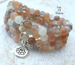 moonstone buddha moonstone mala 108 mala bracelet or necklace reiki