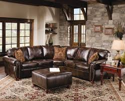 Rustic Leather Sofas Rustic Leather Sectional Sofa With Tables And Carpets Furniture