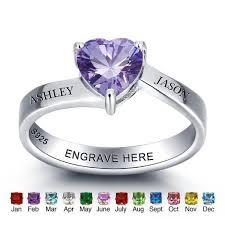 promise rings com images Personalized names love heart birthstone promise rings just jpg