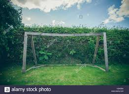 soccer goal made of wood in a backyard stock photo royalty free