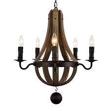 Wooden Chandelier Lighting Docheer 5 Light Vintage Rust Iron Wood Chandelier Lighting Large