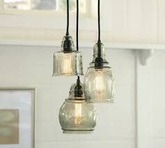 Farmhouse Lighting Chandelier by Rustic Pendant Lights Retro Rustic Clear Glass Bell Jar Pendant