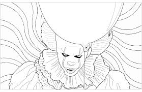 ca clown pennywise psychedelic background halloween coloring
