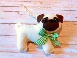 felt pug ornament personalized ornament pug ornament
