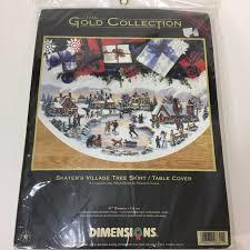 dimensions gold skaters cross stitch tree skirt kit 8641