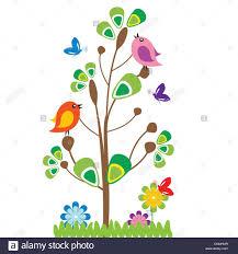 cute kids cartoon with tree and birds stock vector art