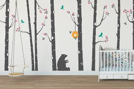 cute bear and bumblebee birch tree wall stickers tree wall tree wall stickers for nursery
