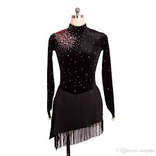 2017 charming design high low design ice skating dress girls long