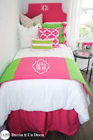 preppy pink u0026 green custom designer bed scarf