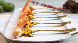 canapes with prawns king prawns with mango and chilli salsa recipes food uk