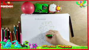 how to draw volcanion pokemon color watermelon coloring pages