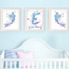 Mermaid Nursery Decor 9 Mermaid Nursery Decor Paintings Shop Mermaid Decor For Baby S