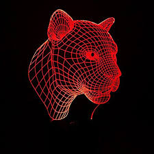 optical illusion 3d lamp 7 colour changing leopard head led lamp