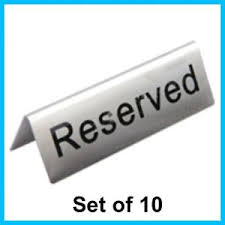 metal reserved table signs set of 10 stainless steel metal table reserved reservation signs ebay