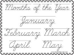 trace the months of the year cursive handwriting sheets in a pdf file