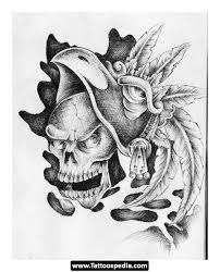 feathers aztec skull tattoo for back tattooshunter com