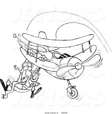 vector of a cartoon pilot hanging on his biplane coloring page