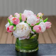 peony arrangement silk white peony real touch pink tulip arrangement flovery
