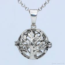 wholesale antique silver tree of hollow cage locket necklace