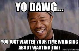 Wasted Meme - yo dawg you just wasted your time whinging about wasting time