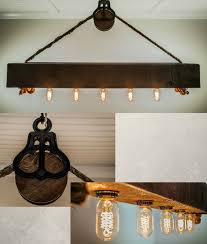 Wood Beam Light Fixture Rustic Wood Beam Chandelier With Edison Bulbs Rope And Pulley