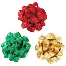 gift bows green and gold glitter ribbon gift bows pack of 3 bows