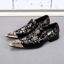 luxury italian designer men dress shoes genuine leather flower men
