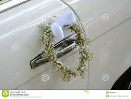 white wedding car decoration stock photo image 58980838