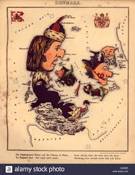 anthropomorphic map of denmark stock photo royalty free image