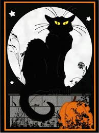 le chat noir halloween black cat by steinlen altered art postcard