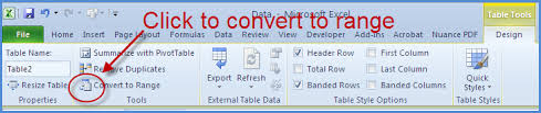 table tools design tab excel 2010 tables and filters online pc learning
